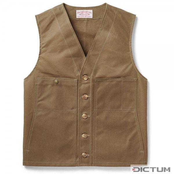 Chaleco de algodón revestido Filson Oil Tin Cloth, tostado oscuro, talla S