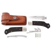 Kit de montage de couteau pliant, Hiro Suminagashi, micarta noir