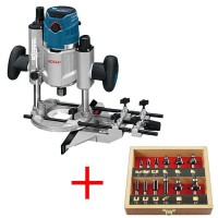 Bosch Plunge Router GOF 1600 CE with Premium TC Router Bit Set, 12 pcs.
