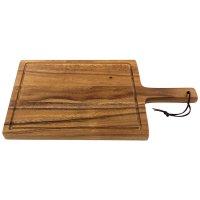 Grande planche à découper en acacia, poignée et sillon pour l'écoulement du jus